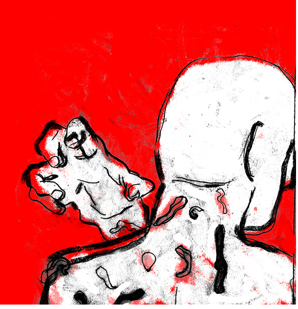 editorial illustration red hand leech copyright infringement newspaper article print abstract spot color man good kinder kinderboek kinderboeken tekenaar illustratie engels nederland