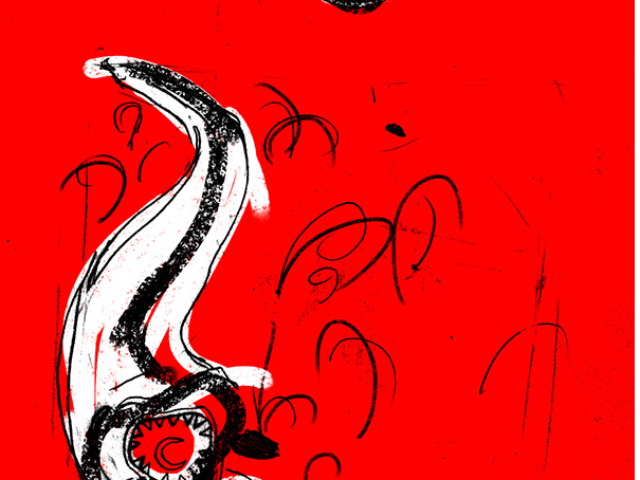 editorial illustration red hand leech copyright infringement newspaper article print abstract spot color man good back hair kinder kinderboek kinderboeken tekenaar illustratie engels nederland