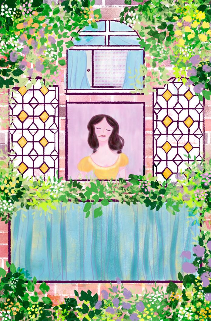 woman children illustration art digital spring window book glass colorful aumen whimsy flowers