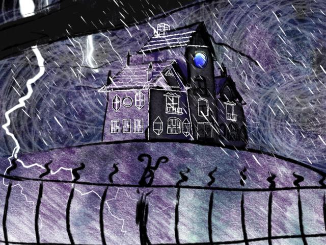 crooked house old mansion abandoned rain weather illustration children book aumen lightning