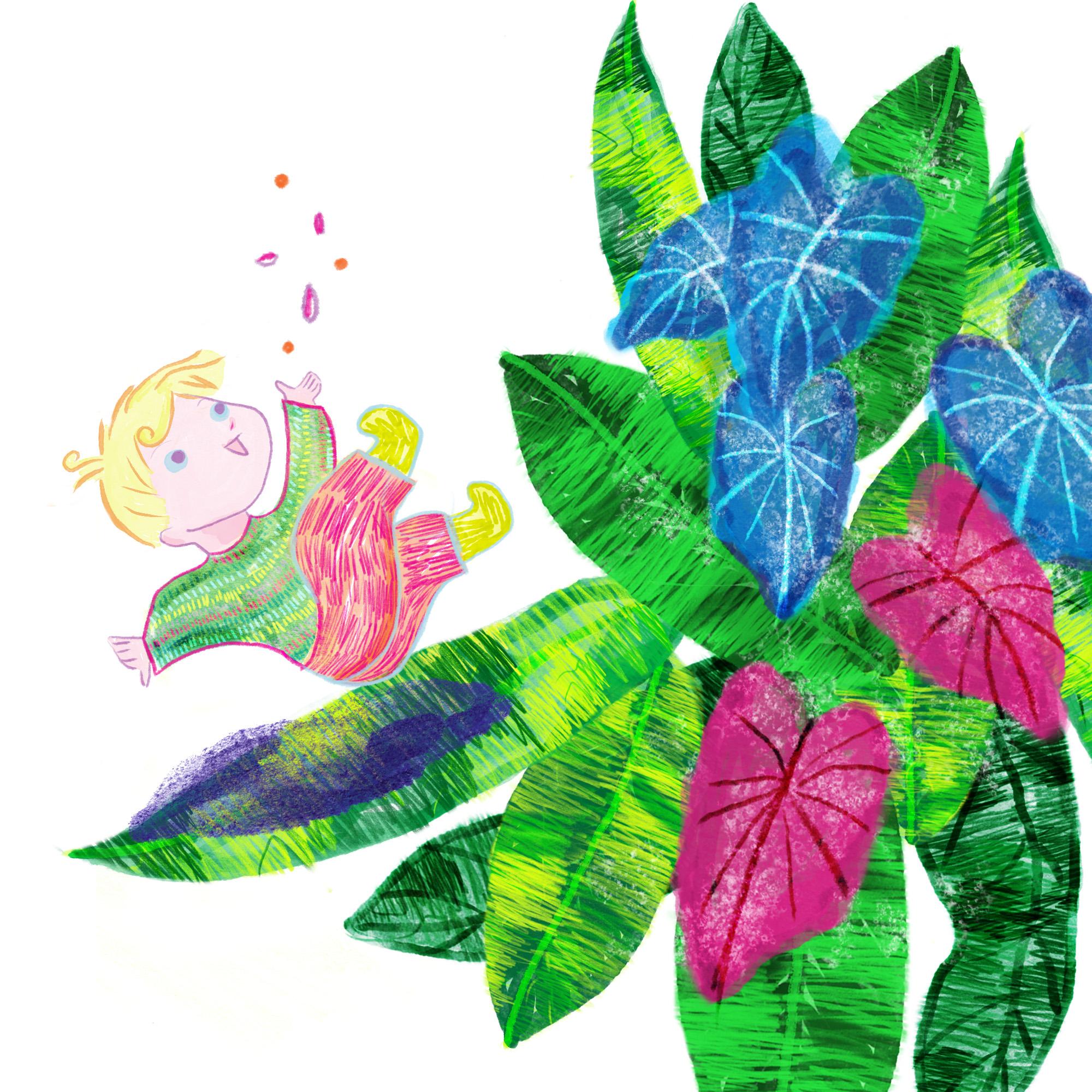 kinderboek tekenar tekener teken illustratie english nederlands plant flower green leaf boy seeds play playful children children's book illustration watercolor pencil boy adventure digital