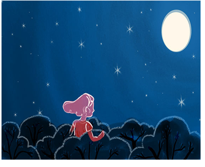 concept couple blue red animation illustration aumen moon night sky starry night stars trees mood abstract story digital graphic commerical kinder kinderboek kinderboeken tekenaar illustratie engels nederland