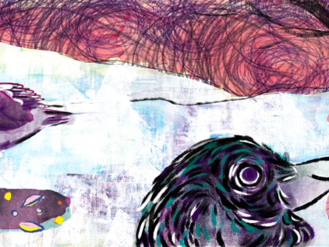 winter crow illustration children worm seeds kids kidlitart kidlit aumen studios purple colorful book picture preschool toddler watercolor pastel kinder kinderboek tekenar tekener teken illustratie english nederlands