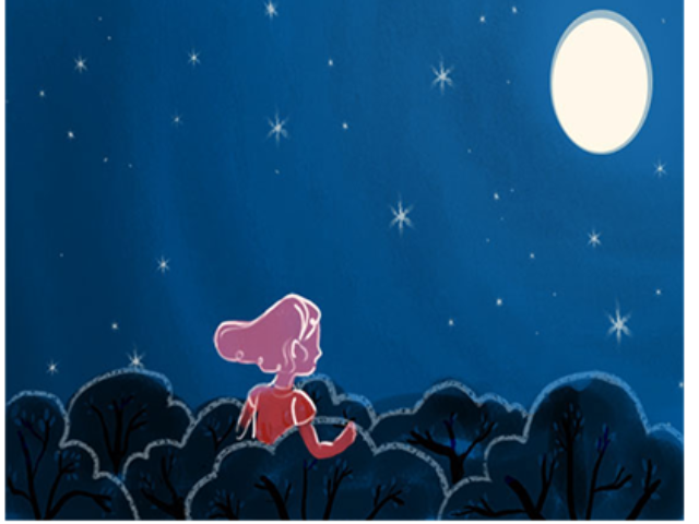 concept couple blue red animation moon illustration aumen night sky starry night stars trees mood abstract story