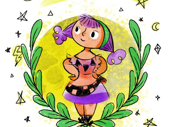 witch girl magic halloween pagan pumpkin cute kids children picture book purple star moon aumen kinder kinderboek kinderboeken tekenaar illustratie engels nederland