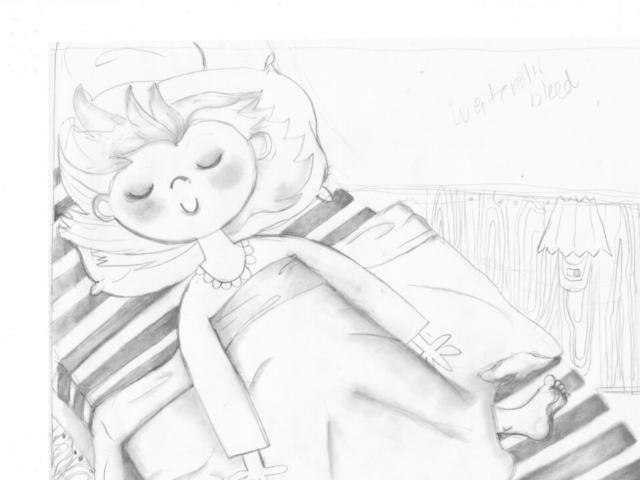 kidlit kid children illustration illustrator au+men studios b&w black and white sketch girl sleep pillow young readers zebrapad illustratie kunst Nederland