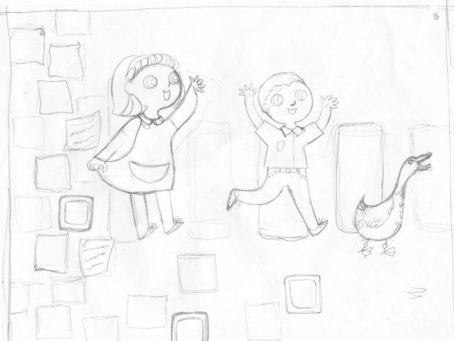 kidlit kid children illustration illustrator au+men studios b&w black and white sketch girl sleep pillow young readers zebrapad illustratie kunst Nederland children's books pages book adventure kind meisje braid hair dieren kinderen goose vloegel boeken bladjes